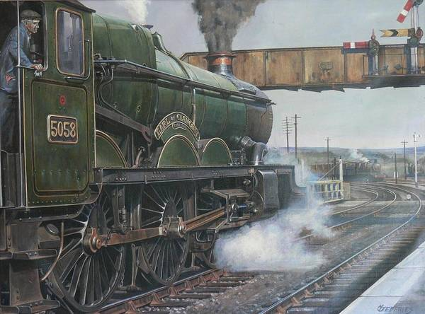 Vintage Train Painting - Castle Class 4.6.0. by Mike Jeffries