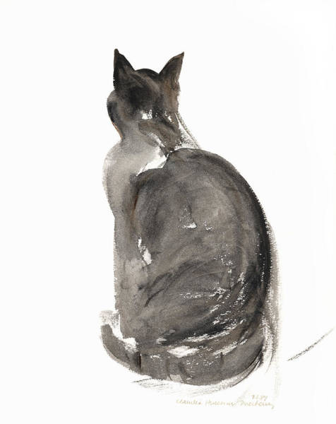 Rear View Wall Art - Painting - Cat by Claudia Hutchins-Puechavy