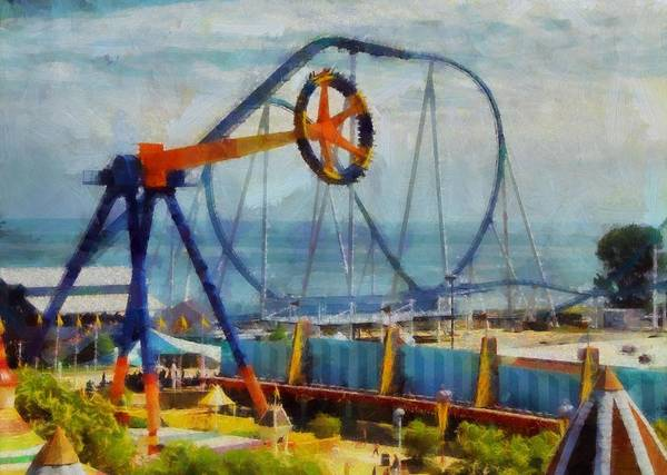 Thrilling Painting - Cedar Point Ohio by Dan Sproul