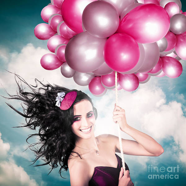 Photograph - Celebration. Happy Fashion Woman Holding Balloons by Jorgo Photography - Wall Art Gallery