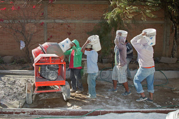 Developing Country Photograph - Cement Mixing For Road-building by Jim West