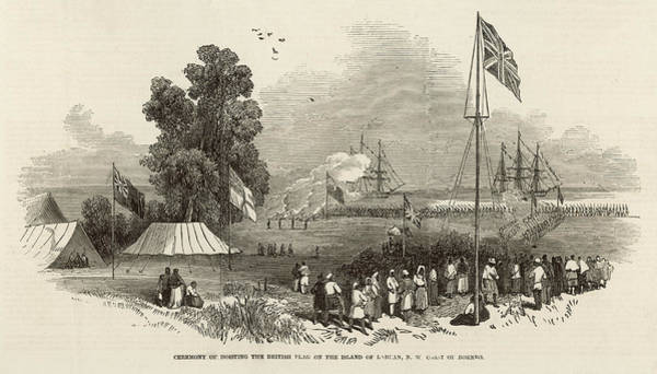 Wall Art - Drawing - Ceremony Of Hoisting The  British Flag by  Illustrated London News Ltd/Mar