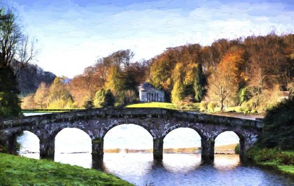 Stourhead Photograph - Cezanne Style Digital Painting Bridge Over Main Lake In Stourhead Gardens During Autumn. by Matthew Gibson