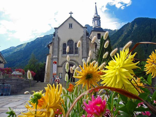 Buy Art Online Photograph - Chamonix Church by Alexandros Daskalakis