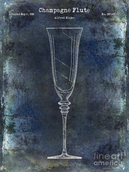 Cigar Photograph - Champagne Flute Patent Drawing Blue 2 by Jon Neidert