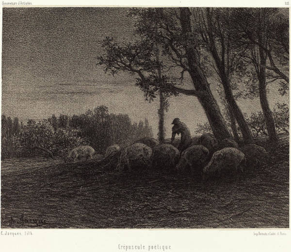 Twilight Drawing - Charles Émile Jacque French, 1813 - 1894 by Quint Lox