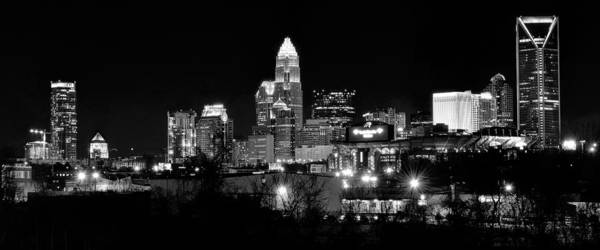 Charlotte Nc Wall Art - Photograph - Charlotte Panoramic In Black And White by Frozen in Time Fine Art Photography