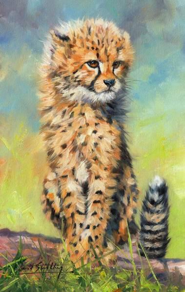 Savannah Painting - Cheetah Cub by David Stribbling