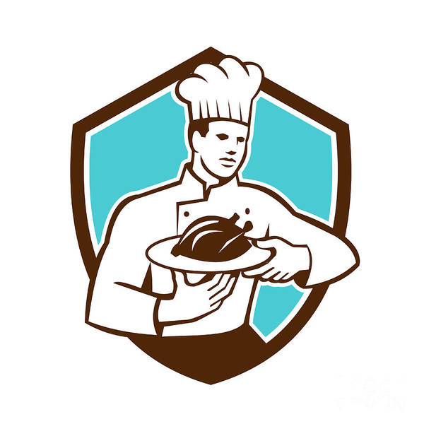 Serve Digital Art - Chef Cook Serving Chicken Platter Shield Retro by Aloysius Patrimonio