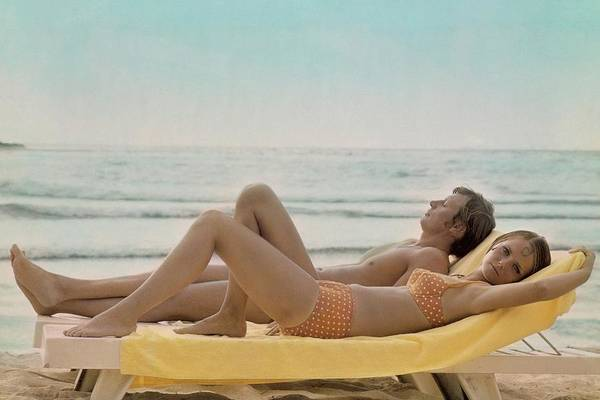 Cheryl Tiegs Modeling A Bikini At A Beach Art Print by William Connors