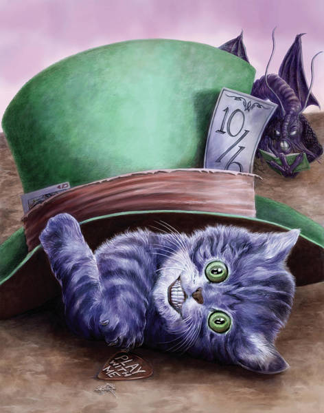 Wall Art - Painting - Cheshire Kitten by MGL Meiklejohn Graphics Licensing