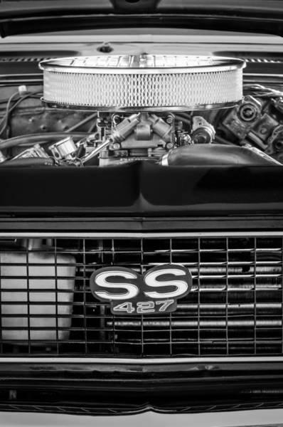 Camaro Wall Art - Photograph - Chevrolet Camaro Ss 427 Grille Emblem - Engine by Jill Reger