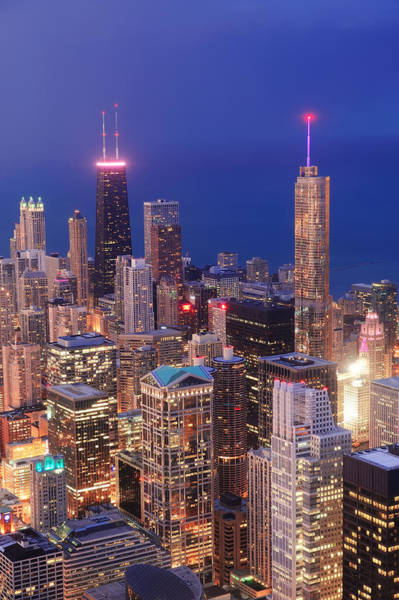 Photograph - Chicago Aerial View At Dusk by Songquan Deng