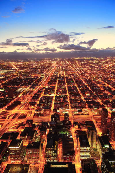 Photograph - Chicago At Dusk by Songquan Deng