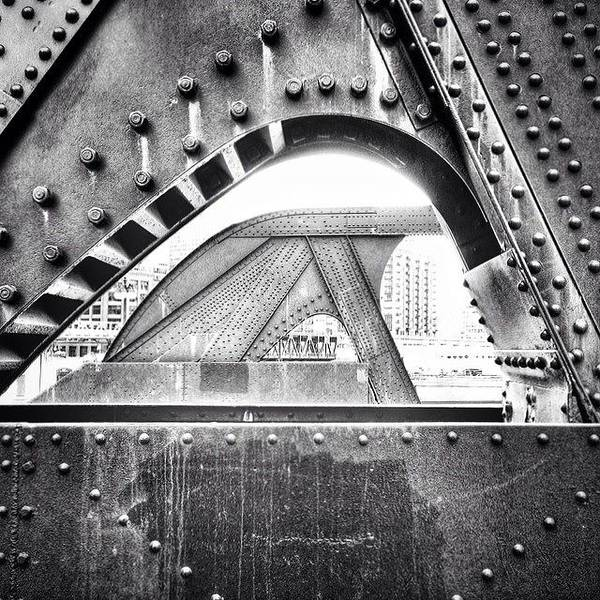 Landmark Wall Art - Photograph - Chicago Bridge In Black And White by Paul Velgos