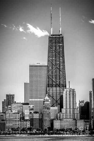 Sears Tower Photograph - Chicago Hancock Building Black And White Picture by Paul Velgos