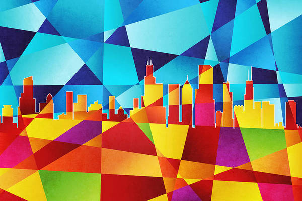 Wall Art - Digital Art - Chicago Illinois Skyline by Michael Tompsett
