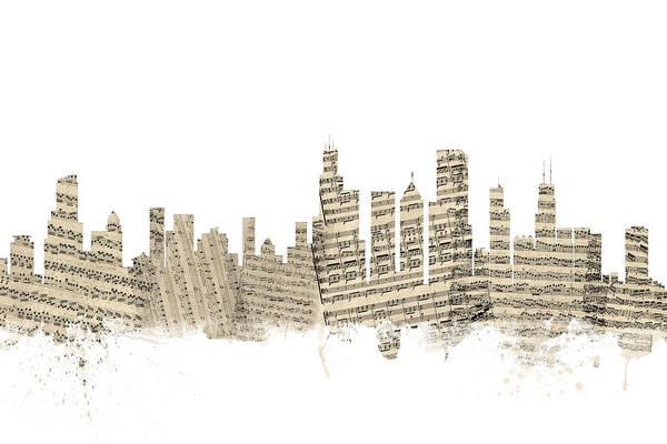 Chicago Skyline Digital Art - Chicago Illinois Skyline Sheet Music Cityscape by Michael Tompsett