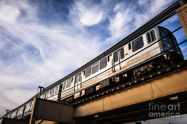 Commuter Rail Wall Art - Photograph - Chicago L Elevated Train by Paul Velgos