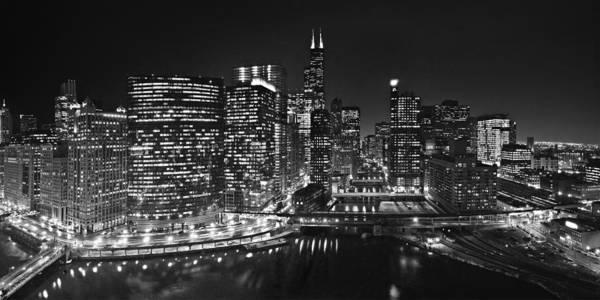 Wall Art - Photograph - Chicago River Panorama B W by Steve Gadomski