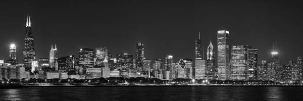 Aquarium Photograph - Chicago Skyline At Night Black And White Panoramic by Adam Romanowicz