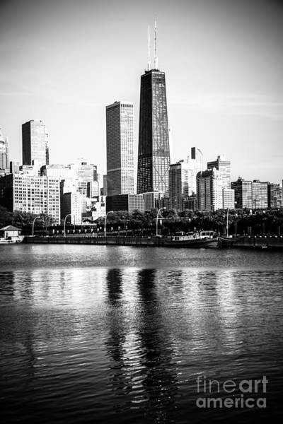 Chicago Skyline Picture In Black And White Art Print