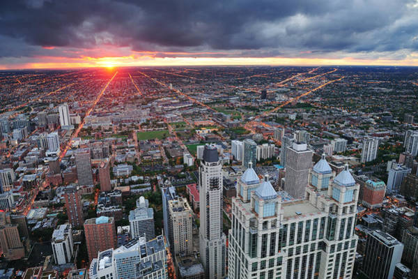 Photograph - Chicago Sunset by Songquan Deng