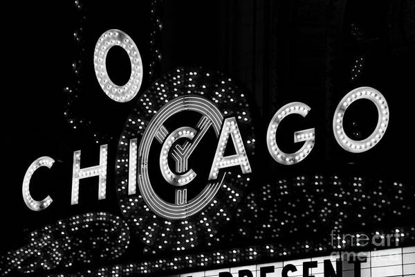 Chicago Black White Wall Art - Photograph - Chicago Theater Sign In Black And White by Paul Velgos