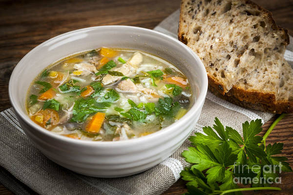 Green Vegetable Photograph - Chicken Soup  by Elena Elisseeva