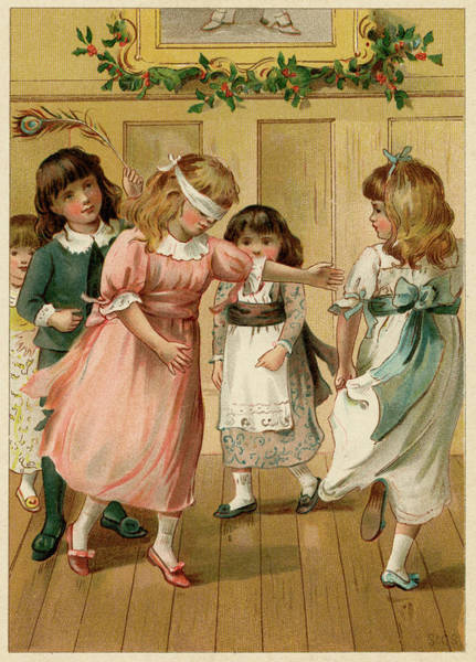 Wall Art - Drawing - Children Playing Blind Man's Buff by Mary Evans Picture Library