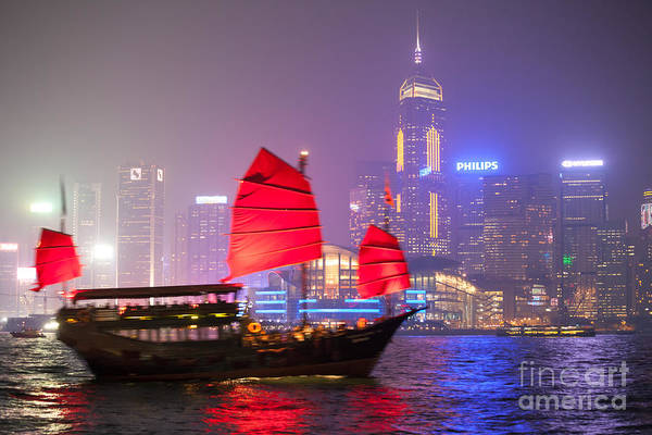 Wall Art - Photograph - Chinese Junk Sail In Hong Kong Harbor At Night by Matteo Colombo