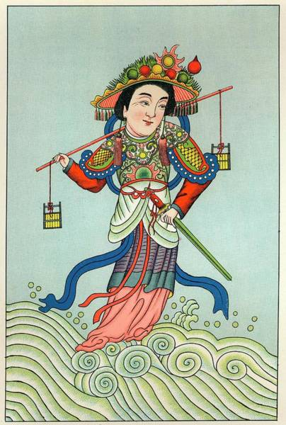 Wall Art - Drawing - Choei-mou-niang-niang Goddess Of Water by Mary Evans Picture Library
