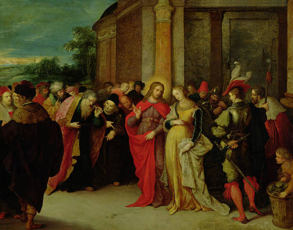 God The Father Wall Art - Painting - Christ And The Woman Taken In Adultery by Frans II the Younger Francken