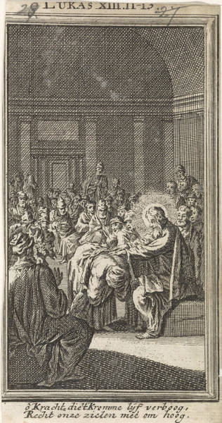 Healing Drawing - Christ Puts His Hand On A Woman, Jan Luyken by Jan Luyken And Anonymous