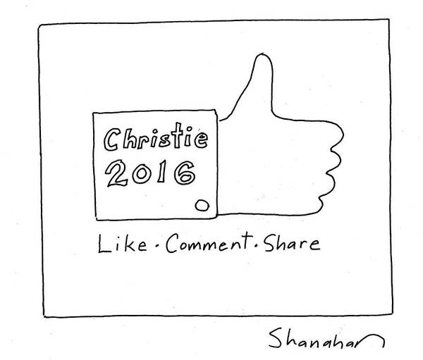 Facebook Drawing - Christie 2016 by Danny Shanahan