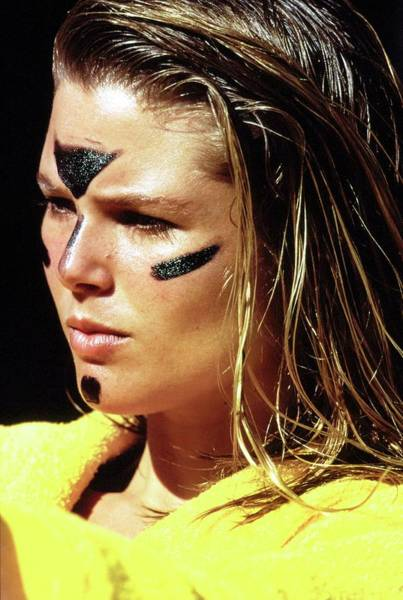 Towel Photograph - Christie Brinkley Wearing Anti-glare Face Paint by Arthur Elgort