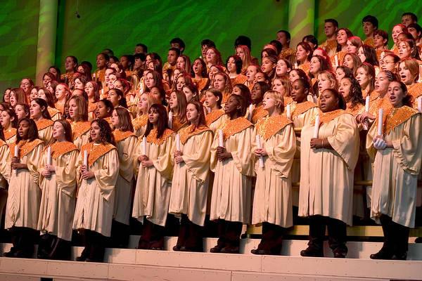 Carol Singing Photograph - Christmas Carols At Disneyworld by Carl Purcell