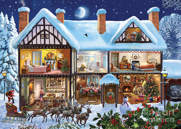 Wall Art - Digital Art - Christmas House by MGL Meiklejohn Graphics Licensing