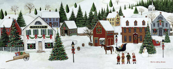 Bow Painting - Christmas Valley Village by David Carter Brown