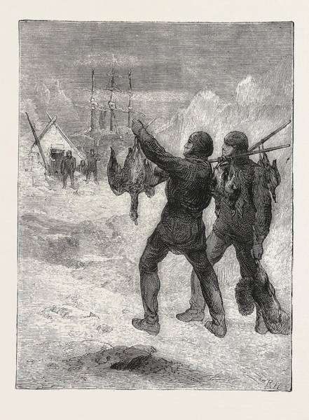 Wall Art - Drawing - Christmas With The Arctic Expedition, 1876 by English School