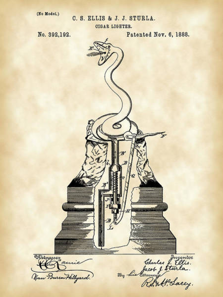 Indonesia Digital Art - Cigar Lighter Patent 1888 - Vintage by Stephen Younts