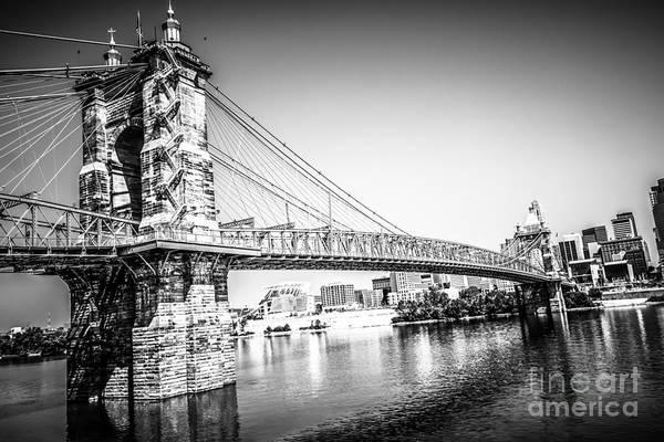Ohio River Photograph - Cincinnati Roebling Bridge Black And White Picture by Paul Velgos