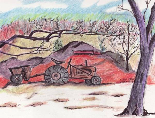 Old Tractor Drawing - Clarks Farm by Paul Meinerth