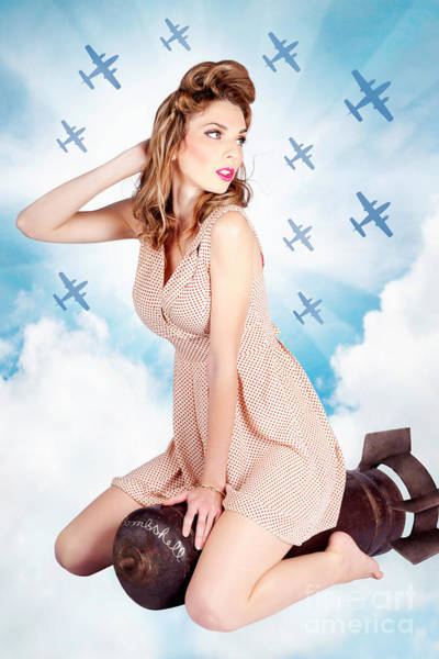 Bomber Photograph - Classic Pinup Portrait. Female Beauty On War Bomb by Jorgo Photography - Wall Art Gallery