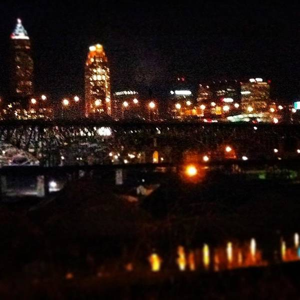 Wall Art - Photograph - #cleve #216 #downtown #night #lights by Angela Ritchie