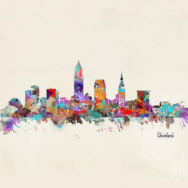 Office Decor Painting - Cleveland Ohio Skyline by Bri Buckley