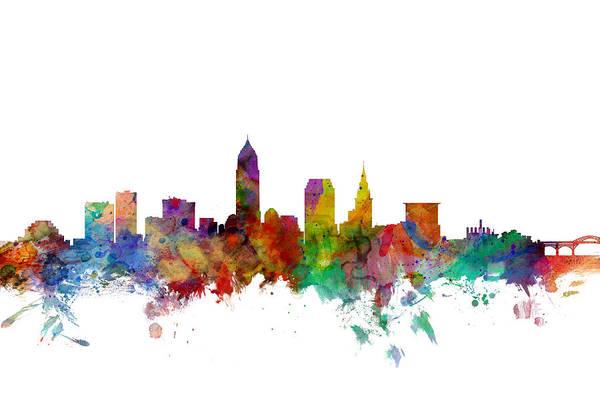 Usa Digital Art - Cleveland Ohio Skyline by Michael Tompsett