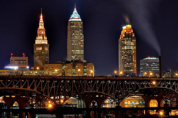 Playhouse Photograph - Cleveland Skyline At Night by Frozen in Time Fine Art Photography