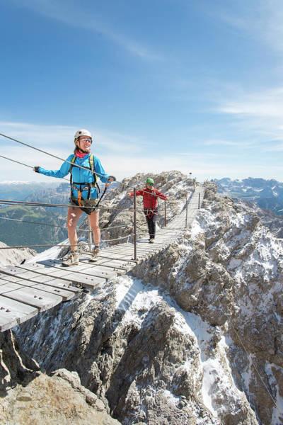 Mature Adult Photograph - Climbing At Via Ferrata Ivano Dibona by Marcos Ferro