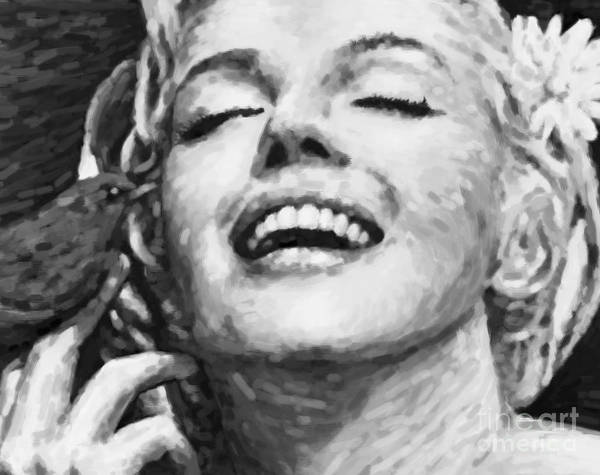 Seductive Painting - Close Up Beautifully Happy In Black And White by Atiketta Sangasaeng